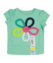Jumping Beans Mint Green With Multi Floral Stripes Girl Tee
