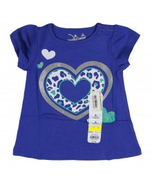 Jumping Beans Purple Girls Tee Wt Shimmer Heart Print