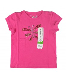 Jumping Beans Pink Girls Tee Wt Butterfly Emblsmt