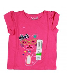 Jumping Beans Pink Girls Tee Wt Pussy Cat Embrdry Baby Girl
