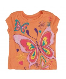 Childrens Place Orange Butterfly Girls Tees