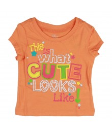 Childrens Place Orange Cute Looks Girls Tees