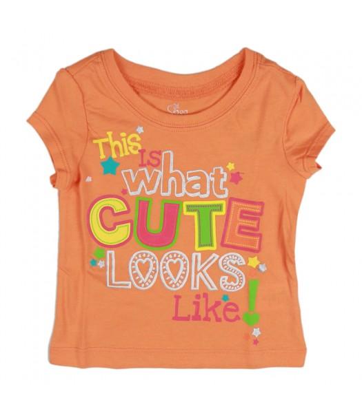 Childrens Place Orange Cute Looks Girls Tees