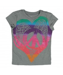 Childrens Place Grey Heart/Peace Print Girls Tees