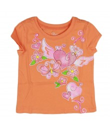 Childrens Place Orange Pink Heart/Flower Girls Tee
