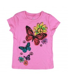 Childrens Place Pink Girls Tee Wt Multi Butterfly