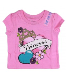 Childrens Place Pink Princess Tattoo Print Girls Tee Baby Girl