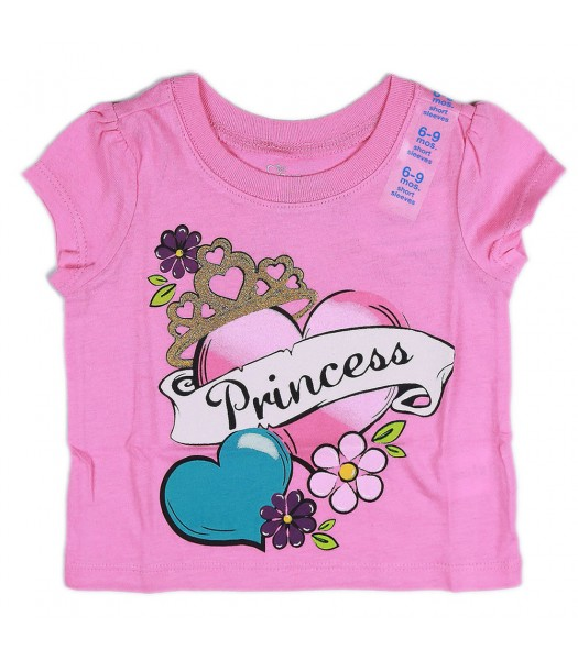 Childrens Place Pink Princess Tattoo Print Girls Tee