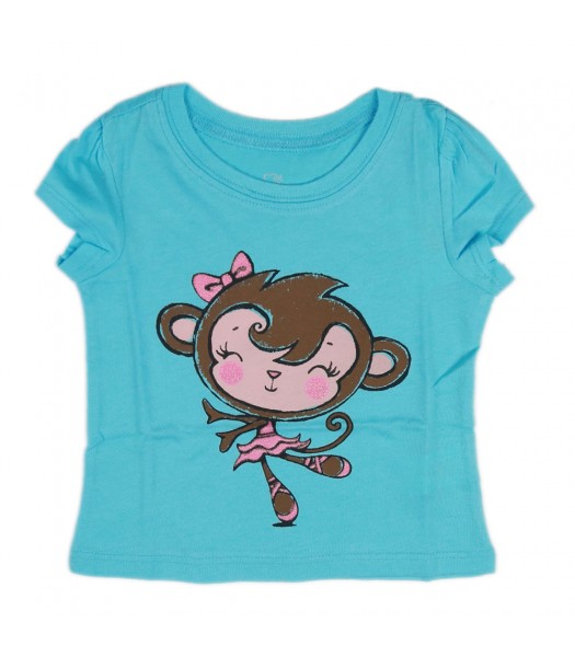 Childrens Place Turquoise Girls Tee - Monkey