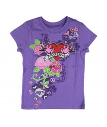 Childrens Place Purple Girls Tee - Rock N Roll Little Girl