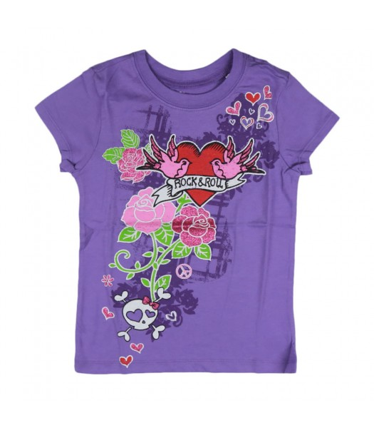 Childrens Place Purple Girls Tee - Rock N Roll