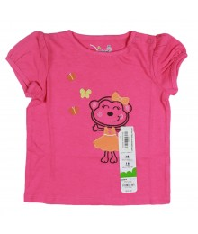 Jumping Beans Pink Girls Tees- Monkey Wt Orange Bow Appliq