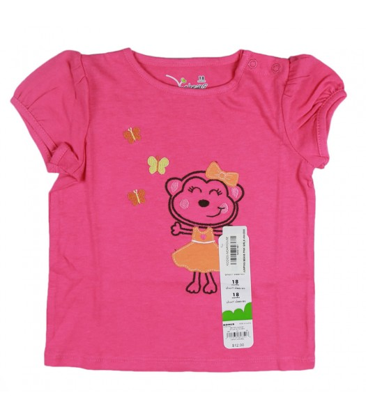 Jumping Beans Pink Girls Tees- Monkey Wt Orange Bow Appliq