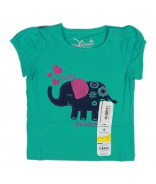 Jumping Beans Green Girls Tees - Elephant Appliq- Lil Peanut Baby Girl