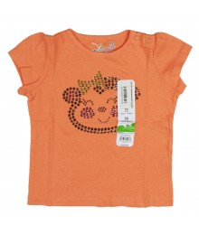 Jumping Beans Orange Bling Monkey Appliq Girls Tees