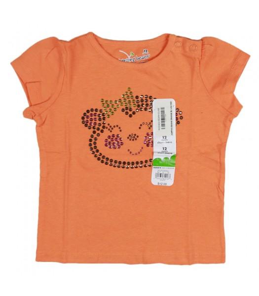 Jumping Beans Orange Bling Monkey Appliq Girls Tees