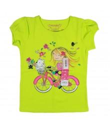 Sonoma Lemon Green Girls Tee - Bike Riding