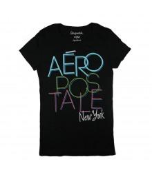 Aeropostale Black Girls Tees - Aero Newyork Overlap Print