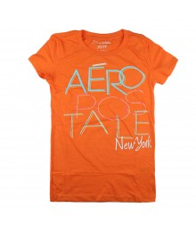 Aeropostale Orange Girls Tees - Aero Newyork Overlap Print Juniors