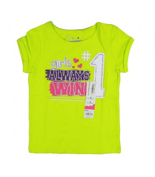 Jumping Beans Green Neon Girls Tee Girls Always Win