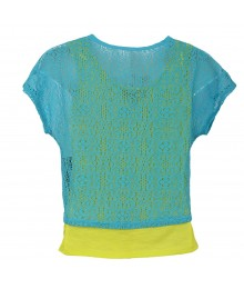 Amy Byer Teal Top Wt Butterfly Cut Out N Lemon Underlay