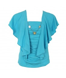 Amy Byer Coral Butterfly Sleeve Ruched Top Wt Necklace  Big Girl
