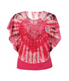 Forever Orchid Pink Crochet Circle Heart Tie/Dye 2pc Top