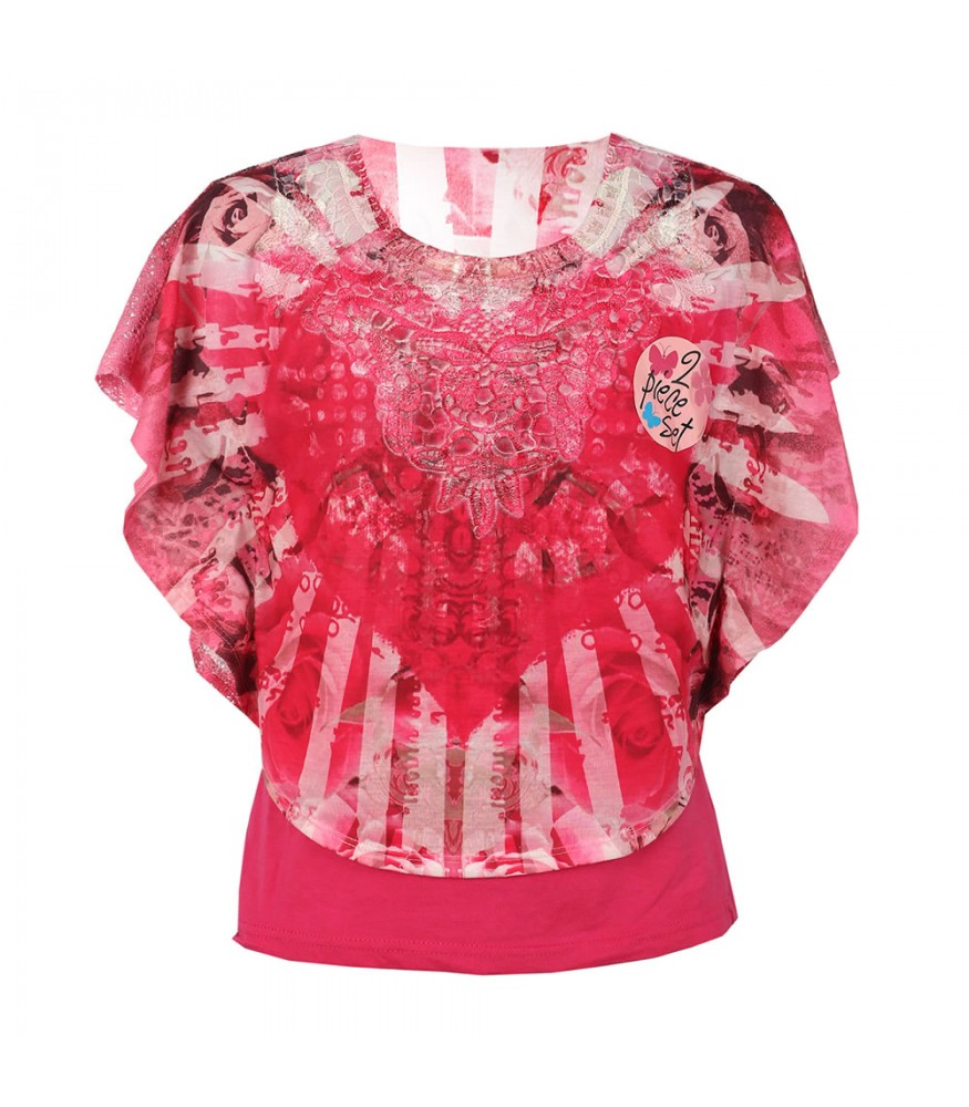 8f6b710b Forever Orchid Pink Crochet Circle Heart Tie/Dye 2pc Top