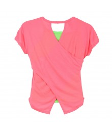 Copper Key Pink Neon Cross-Back 2 Pc Top Wt Heart Cut-Out Pattern