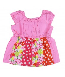 Gymboree Pink Flower Dot Mixed Print Tunic Top