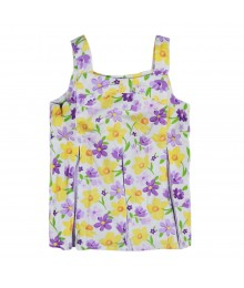 Gymboree Purple White/Yellow Flower Print Pleated Top Little Girl