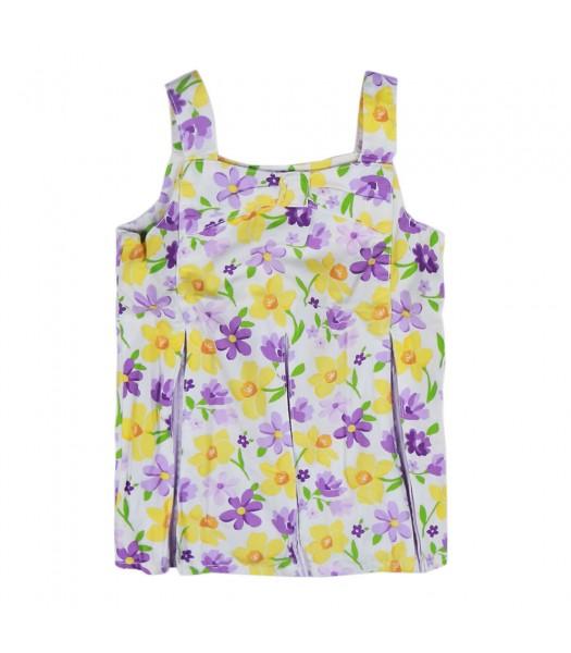 Gymboree Purple White/Yellow Flower Print Pleated Top