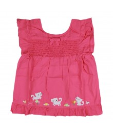 Gymboree Pink Kitty Blossom Smocked Ruffle Top