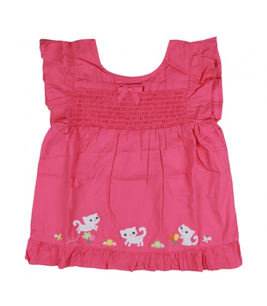 Gymboree Pink Kitty Blossom Smocked Ruffle Top Little Girl