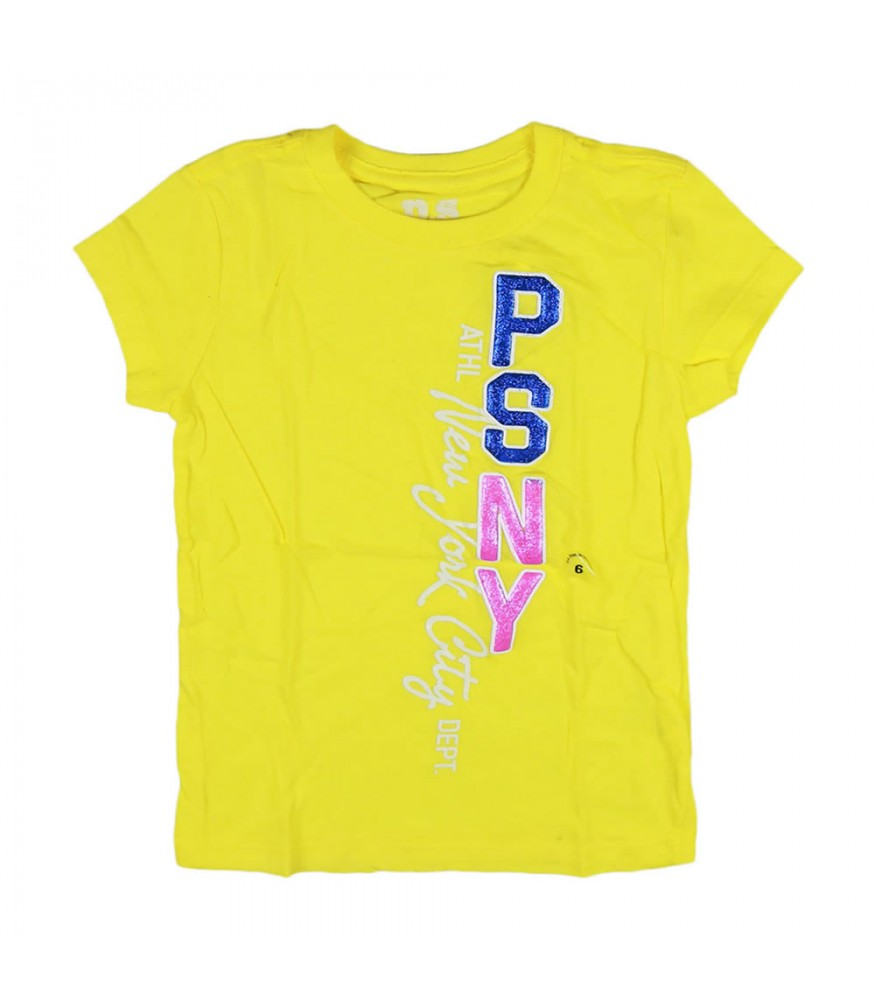 4d3680e31 Aeropostale Yellow Vertical Psny Girls Graphic Tee