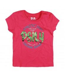 Aeropostale Pink Psny Glitter Graphic Girls Tee
