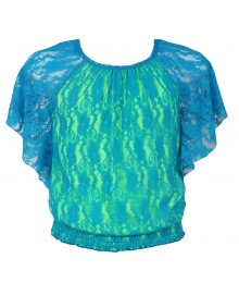 Amy Byer Turq Lace With Lemon Underlay Butterfly Blouse