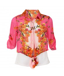 Amy Byer Pink/Floral Minor Chiffon Tie Shirt Wt Cami