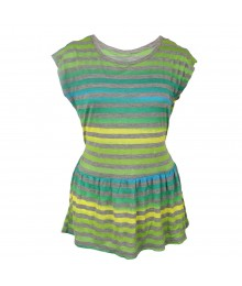 Speechless Turq/Green/Lemon Stripe Peplum Knit Top