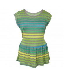 Speechless Turq/Green/Lemon Stripe Peplum Knit Top