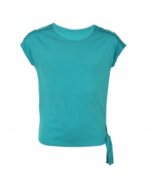 Jessica Simpson Blue Tie Blouse Wt Lacy Shoulder