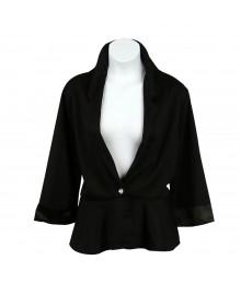 Knitwork Black Peplum Blazer Wt Lace Back
