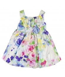 Youngland White Satung Dress Wt Multi Floral Print Little Girl
