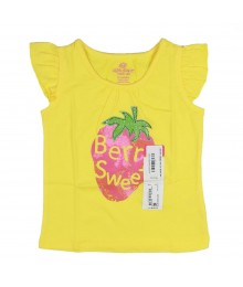 "Okie Dokie Yellow ""Berry Sweet"" Flutter Sleeve Tee Baby Girl"