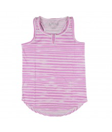 Total Girl Purple/White Stripped Hi-Low Tank Top