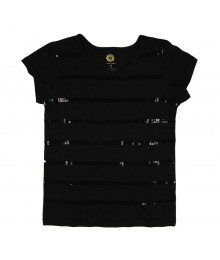 Total Girl Black Girls Tee Wt Black Sequind Stripped