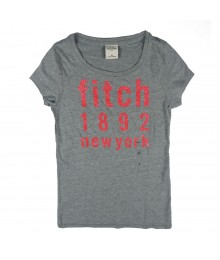 Abercrombie Grey Girls Tees Wt Fitch Pink Print