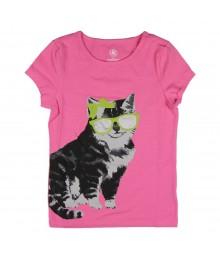 J Khaki Pink Girls Tees Wt Cat Print