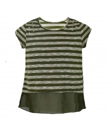 Speechless Green Stripped/Studded Hi-Low Girls Tops Big Girl