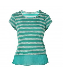 Speechless Teal Stripped/Studded Hi-Low Girls Tops